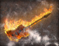 burning gitarr vektor illustrationer