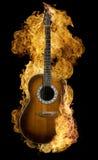 burning gitarrspanjor royaltyfri foto