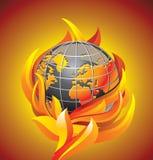 Burning globe - apocalypse. Vector illustration stock illustration