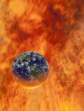 Burning globe earth Stock Photo