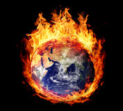 Burning globe earth (east hemisphere). Version without glowing (elements furnished by NASA Royalty Free Stock Images