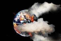 Burning globe earth Royalty Free Stock Photo