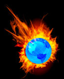 Burning globe earth. Vector illustration on black Stock Photos