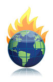 Burning globe illustration design icon Royalty Free Stock Image