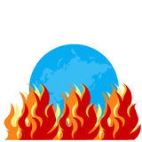Burning globe - Illustration. With fire flames Stock Photos