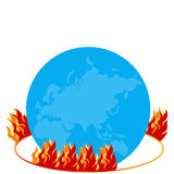 Burning globe - Illustration. With fire flames Royalty Free Stock Image