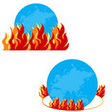 Burning globe - Illustration. With fire flames Stock Image