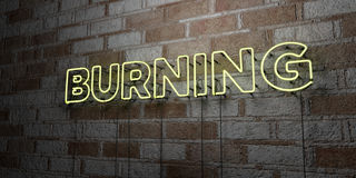 BURNING - Glowing Neon Sign on stonework wall - 3D rendered royalty free stock illustration Stock Photo