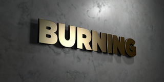 Burning - Gold sign mounted on glossy marble wall  - 3D rendered royalty free stock illustration Stock Photography