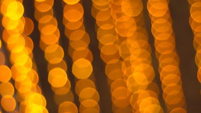 Burning Golden lights garlands. Festive decorations. stock video