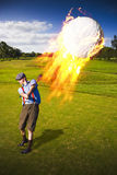 Burning Golf Ball Stock Photos