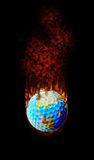 Burning Golf Ball Globe. Golf - Hottest topic on earth Royalty Free Stock Photo