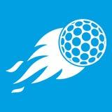 Burning golf ball icon white. Isolated on blue background vector illustration Royalty Free Stock Images