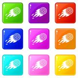 Burning golf ball icons 9 set. Burning golf ball icons of 9 color set isolated vector illustration Royalty Free Stock Photos