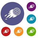 Burning golf ball icons set. In flat circle red, blue and green color for web Stock Photo