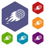 Burning golf ball icons set hexagon. Isolated vector illustration Royalty Free Stock Photos