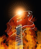 Burning Guitar. Retro guitar burning in true flames Stock Photos