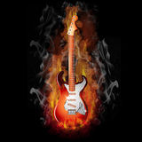 Burning Guitar. Hot Fire on a Red Electric Guitar - Music Series Royalty Free Stock Photo
