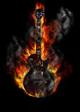 Burning guitar Stock Photos