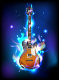 Burning guitar. In blue flames, vector image eps10 Royalty Free Stock Images