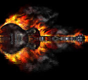 Burning guitar in the water Royalty Free Stock Images