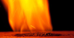Burning gunpowder Royalty Free Stock Photo