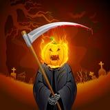 Burning Halloween Grim. Illustration of burning Halloween grim with pumpkin head Royalty Free Stock Image
