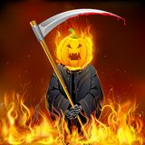 Burning Halloween Grim. Illustration of burning Halloween grim with pumpkin head Royalty Free Stock Photography