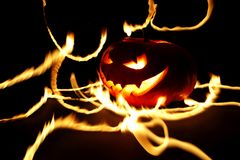 Burning halloween pumpkin Stock Photos