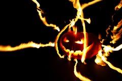 Burning halloween pumpkin Stock Photo