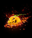 Burning halloween pumpkin falling in stone Royalty Free Stock Photos