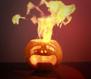 Burning haloween pumpkin Royalty Free Stock Photography