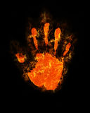 Burning hand. Imprint of his hand a blazing fire Royalty Free Stock Photo