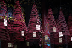 Burning hanging incense coils Stock Image