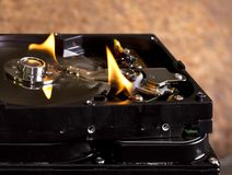 Burning hard disks Stock Image