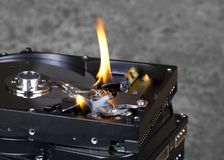Burning hard disks Royalty Free Stock Photo