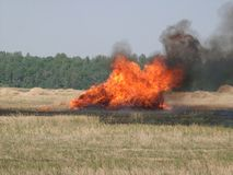 Burning haystack Royalty Free Stock Photo