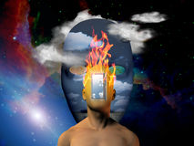 Burning head. Burning human head with space face background  Some elements provided courtesy of NASA Stock Photo