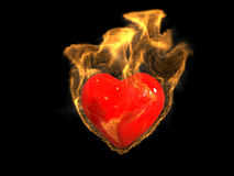 Burning Heart. Hot burning 3D red heart Royalty Free Stock Image