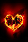 Burning heart. Composition with a burning heart Royalty Free Stock Photo