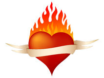 Burning heart. Illustration of burning heart. Banner can be removed Stock Photography