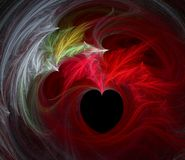 Burning Heart. Red-Hot Love - Burning Desire - Valentine heart with flames Vector Illustration