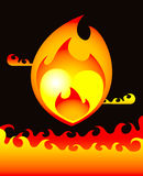 Burning heart. Heart is blazing because of hot love in darkness Royalty Free Stock Photography