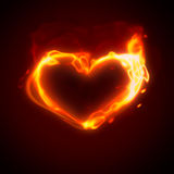 Burning heart. Abstract background - heart on fire Stock Photos