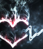 Burning heart. Abstract burning heart in the smoke and hearthbeat Royalty Free Stock Photography