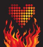 Burning heart. Illustration of a heart that consists of skulls Stock Photos