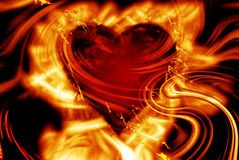 Burning heart. With flame background Stock Images