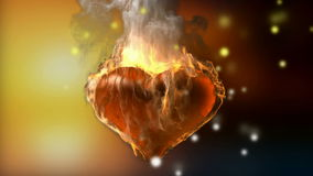 Burning heart. Alpha matted. 3D rendered stock footage