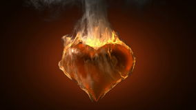 Burning heart. Alpha matted video stock footage
