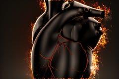 Burning heart. Closeup illustration Royalty Free Stock Photography